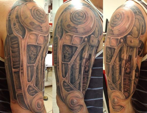 Tribal Biomechanical Tattoo For Arm photo - 3