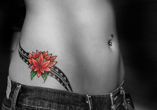 Tribal Butterfly Hip Tattoo Design photo - 1