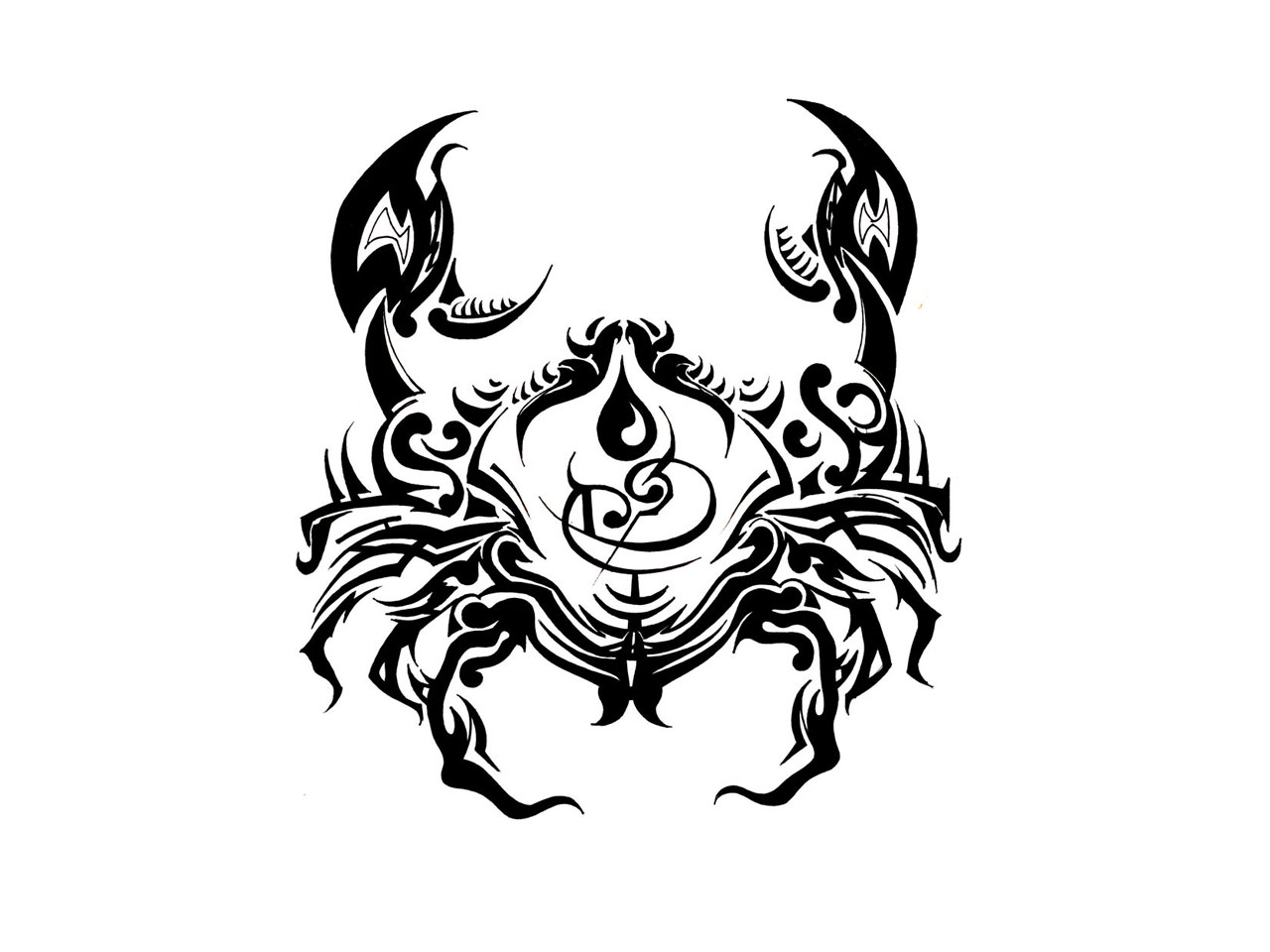 Tribal Cancer Sign Tattoo Design photo - 1