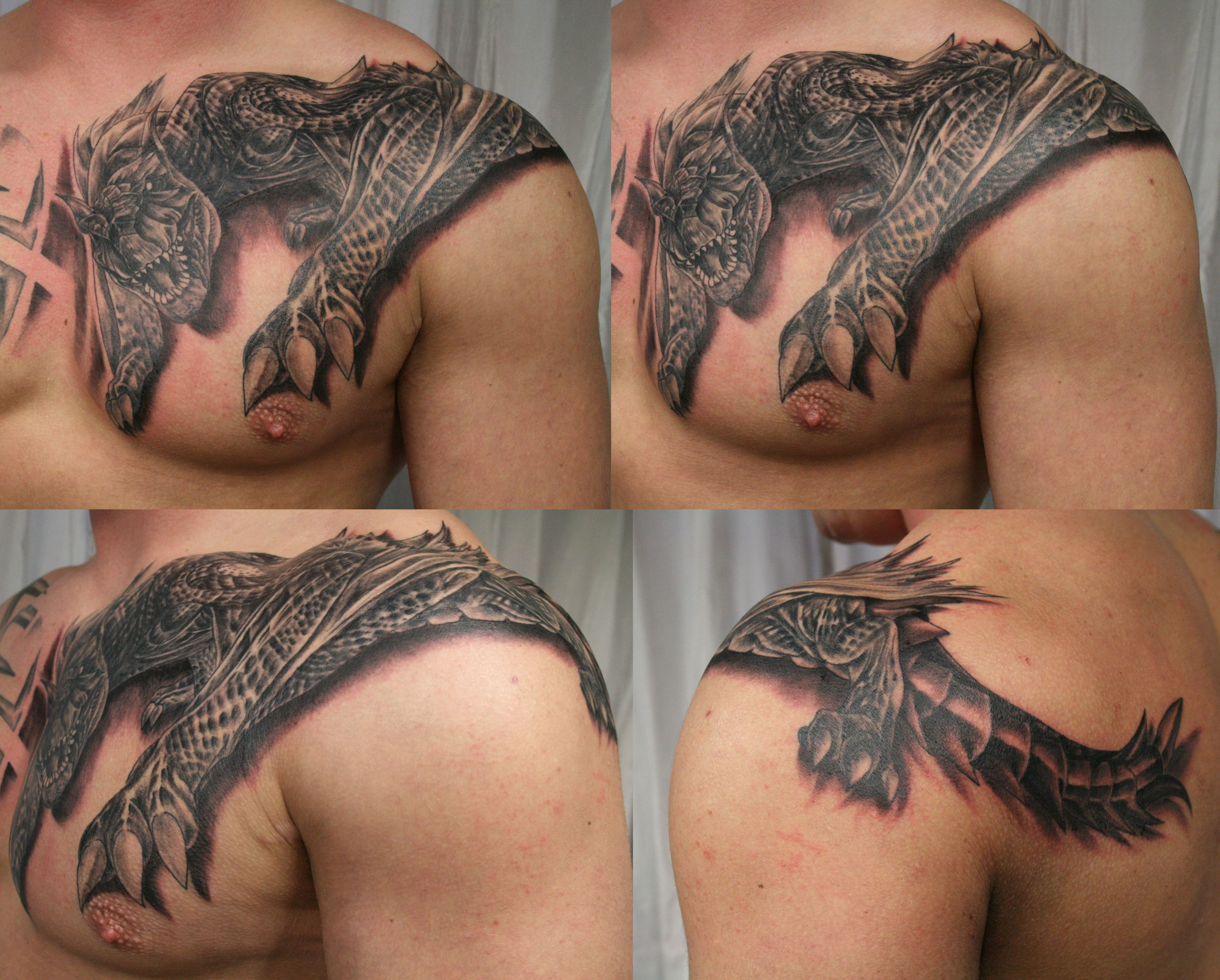 Tribal Cancer Sign Tattoo On Shoulder photo - 3