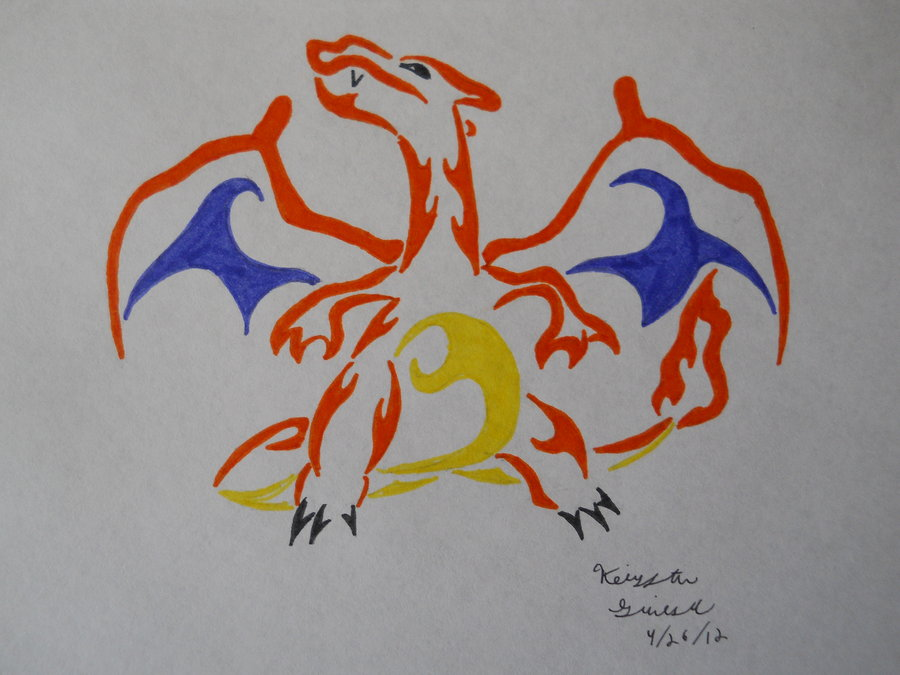 Tribal Charizard Tattoo Stencil photo - 3