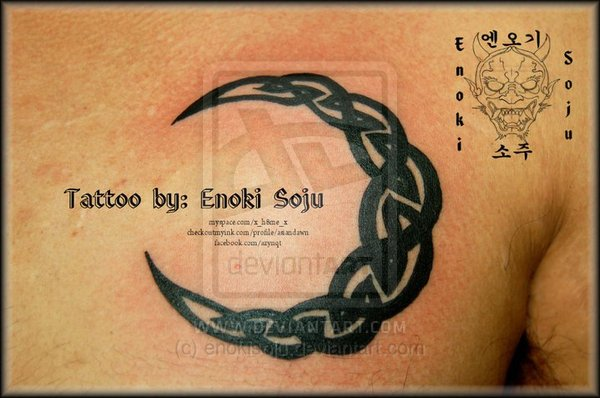 Tribal Crescent Moon Tattoo For Chest photo - 2