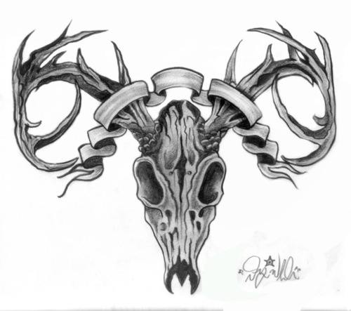 Tribal Deer Skull Tattoo Design photo - 1