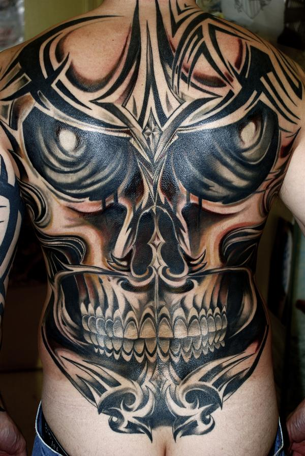 Tribal Deer Skull Tattoo On Back photo - 1