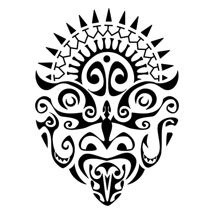 Tribal Devil Mask Tattoo Stencil photo - 3