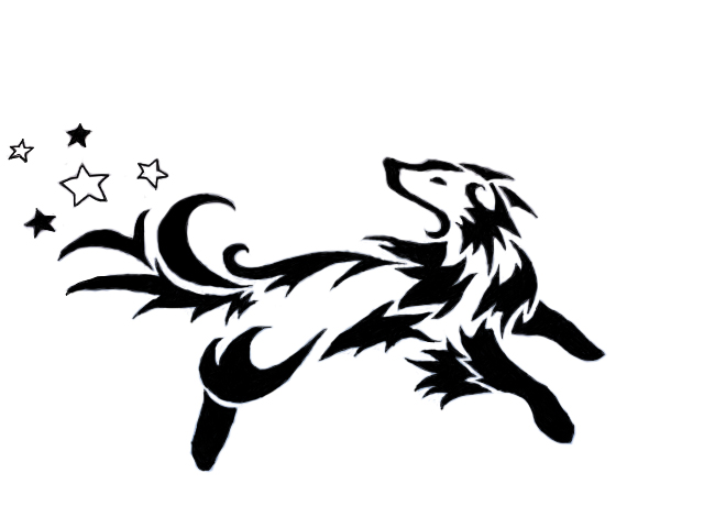 Tribal Dog With Stars Tattoo Design photo - 1