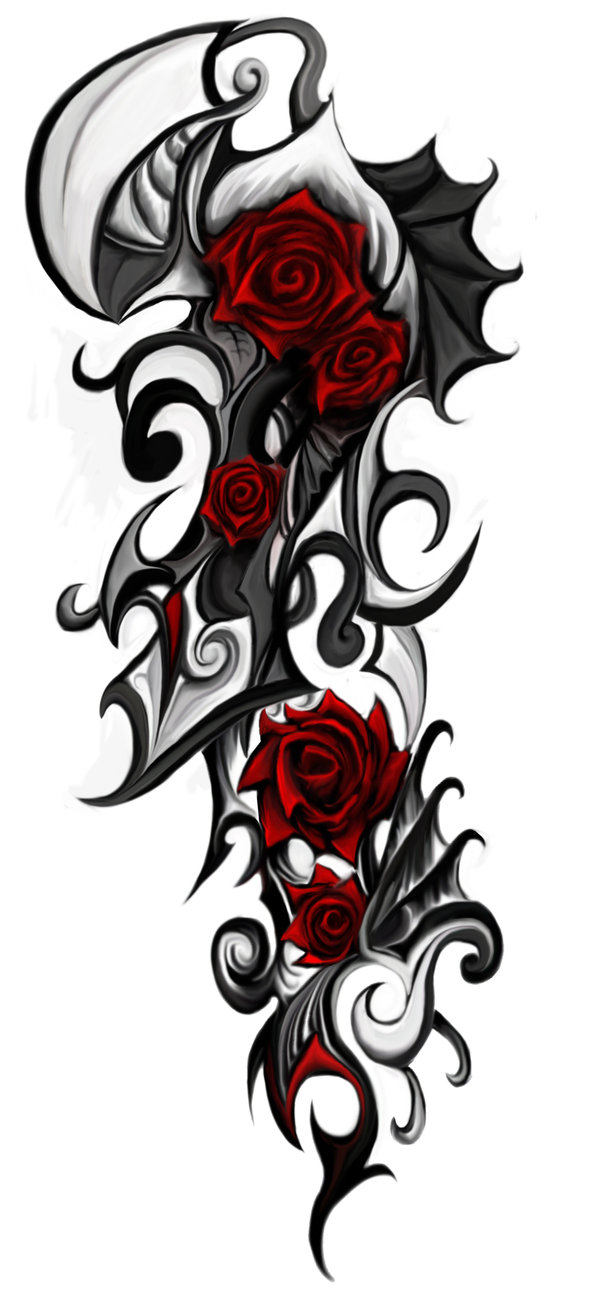 Tribal Dragon And Red Rose Tattoo On Side photo - 2
