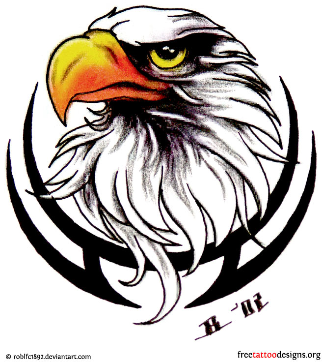 Tribal Eagle Head Tattoo Design photo - 1