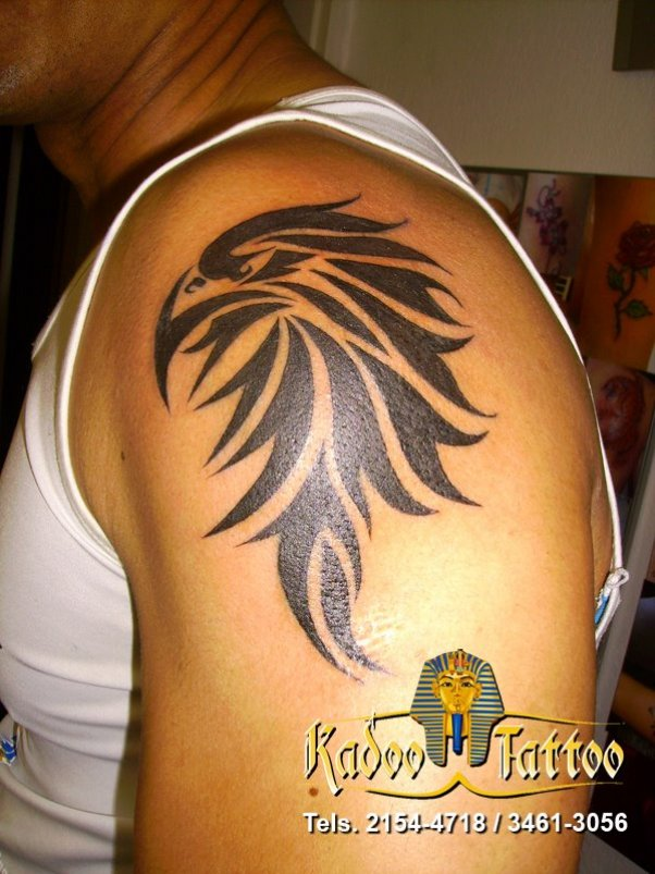 Tribal Eagle Head Tattoo On Shoulder photo - 1