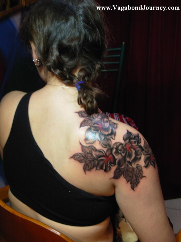 Tribal Floral Tattoo On Shoulder photo - 1