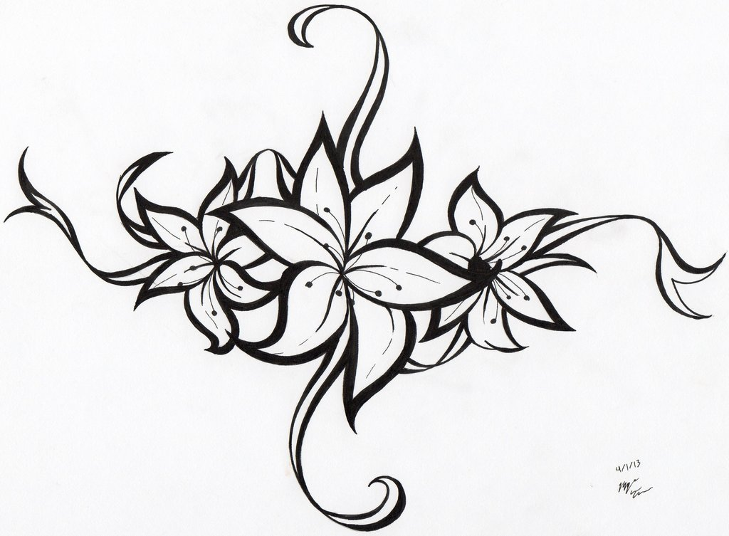 Tribal Flower Tattoo Drawing photo - 2