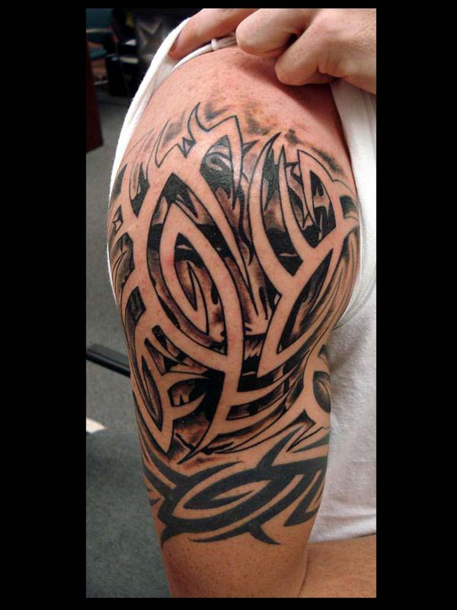 Tribal Gemini Symbol With Shading Tattoo Design photo - 1
