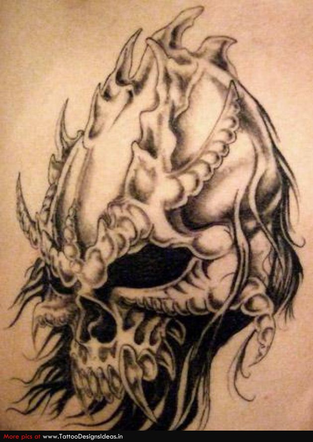 Tribal Grim Reaper Tattoo Design On Shoulder photo - 3