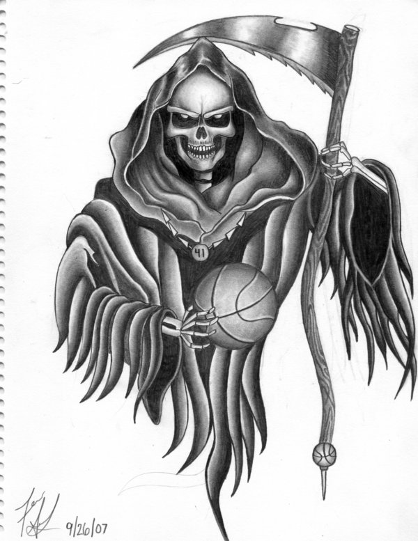 Tribal Grim Reaper Tattoo Flash photo - 2