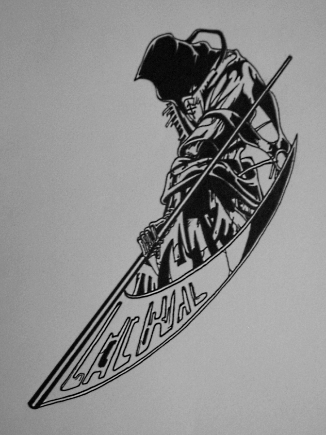 Tribal Grim Reaper Tattoo Flash photo - 3