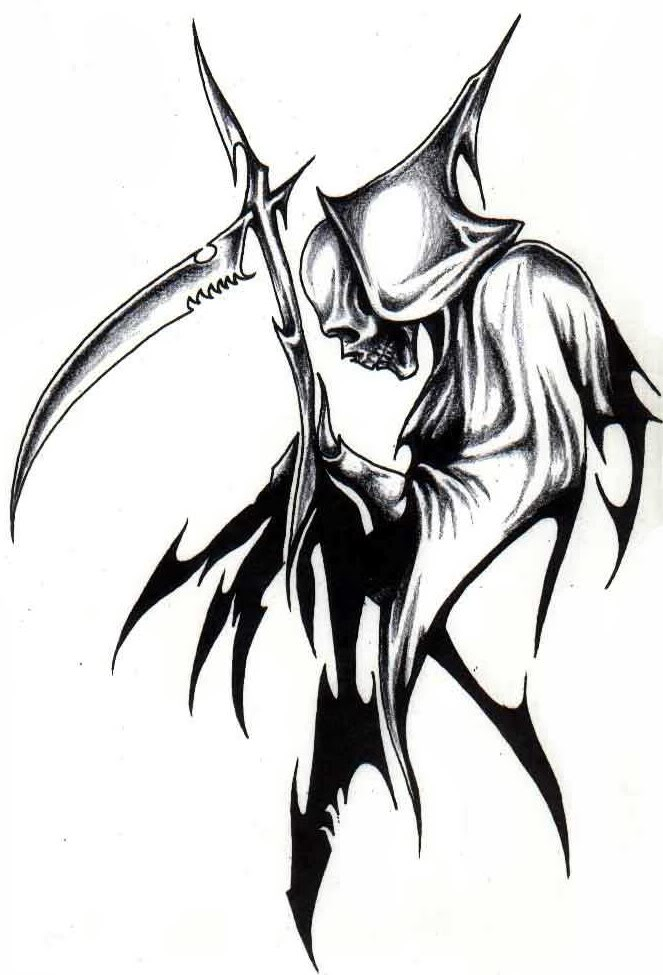 Tribal Grim Reaper Tattoo Graphic photo - 1