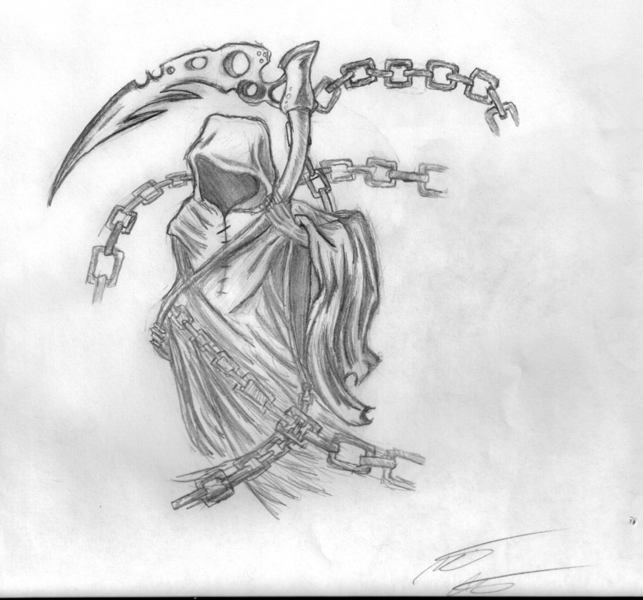 Tribal Grim Reaper Tattoo Print photo - 1