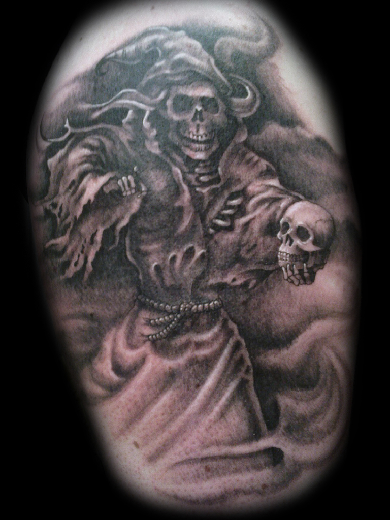 Tribal Grim Reaper Tattoo Print photo - 3