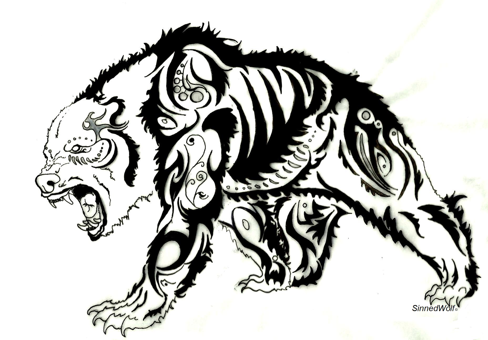 Tribal Grizzly Bear Tattoo Designs photo - 1