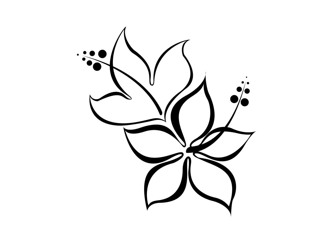 Tribal Heart With Flowers Tattoo Design photo - 2