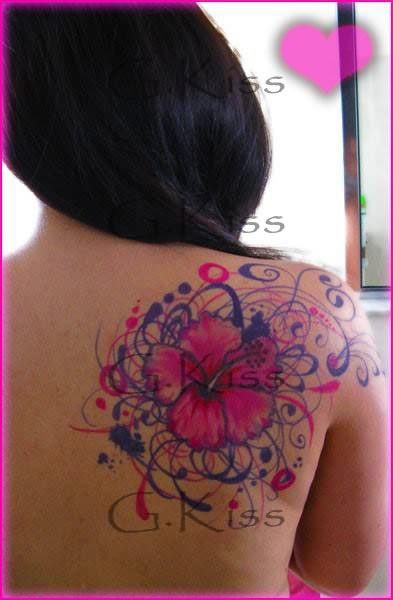 Tribal Hibiscus Flower Tattoo Stencil photo - 2