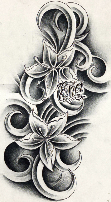Tribal Hibiscus Flower Tattoo Stencil photo - 3