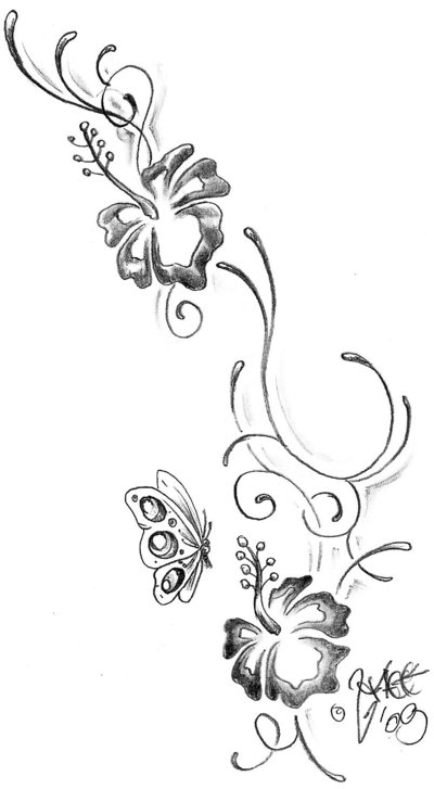 Tribal Hibiscus Tattoo Design photo - 2