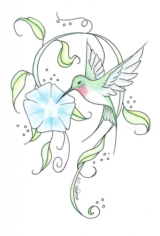 Tribal Hummingbird Tattoo Graphic photo - 1