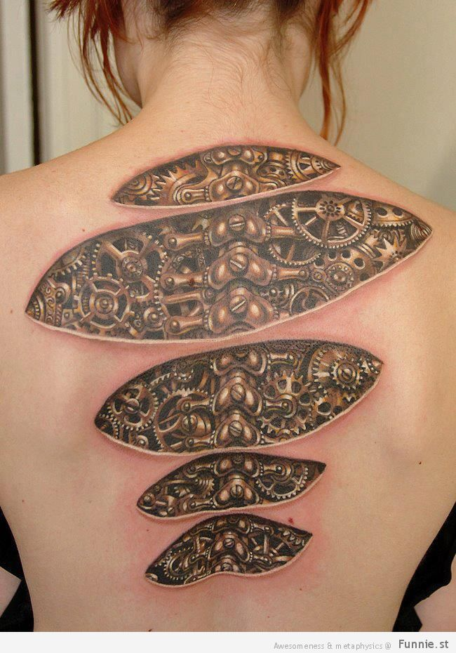 Tribal Hummingbird Tattoo On Back Of Smiling Girl photo - 2