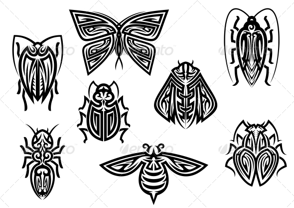 Tribal Insect Tattoo Set photo - 1