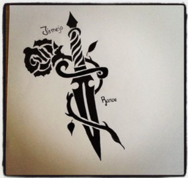 Tribal Knife And Rose Tattoo Designs photo - 2