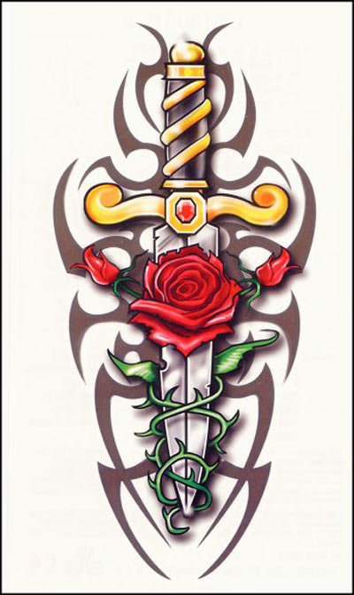 Tribal Knife And Rose Tattoo Designs photo - 3