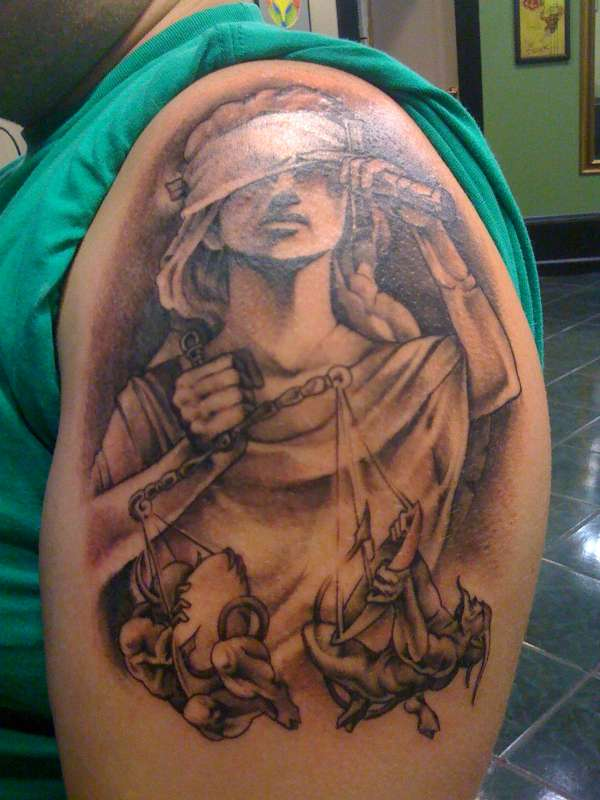 Tribal Lady Of Justice Tattoo Design photo - 3