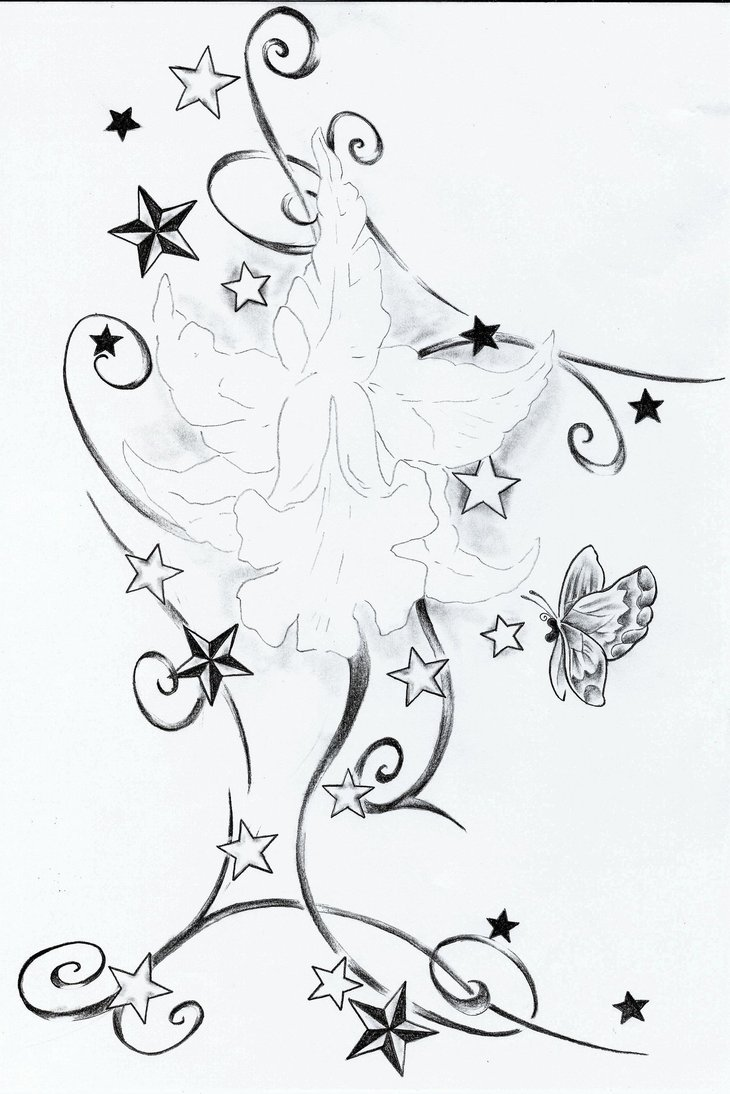 Tribal Lilies And Stars Tattoo Designs photo - 1