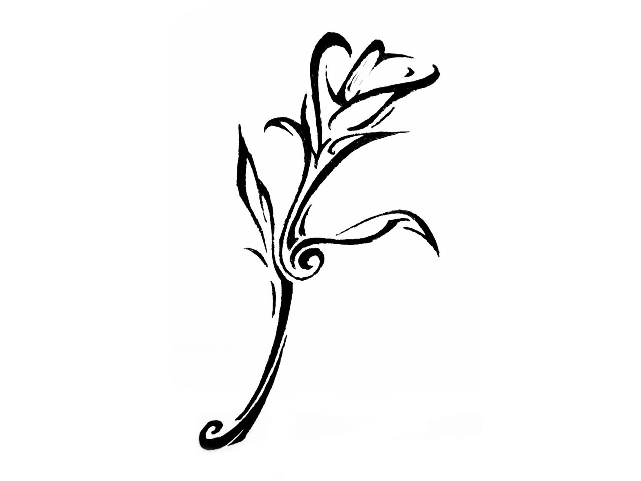 Tribal Lily Flowers Tattoo Design photo - 1