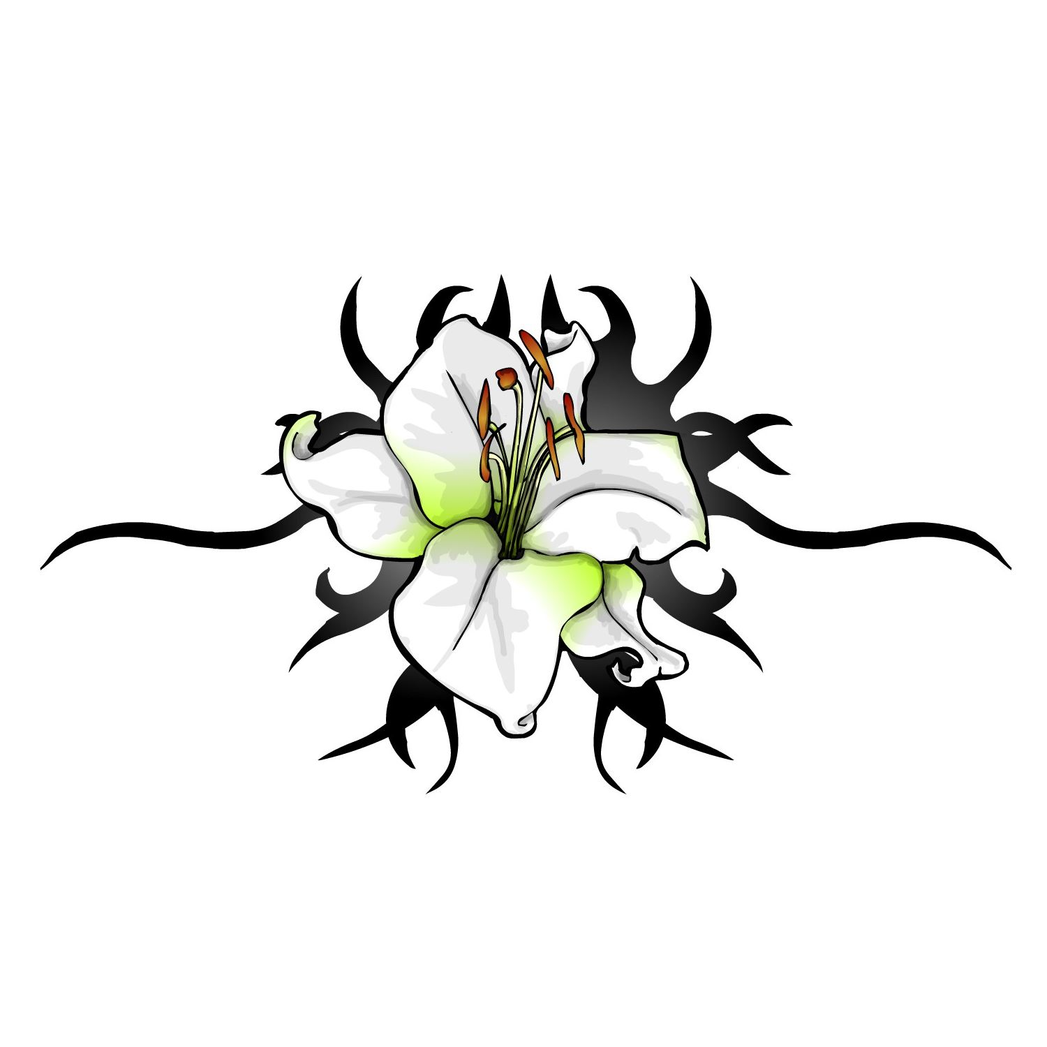 Tribal Lily Flowers Tattoo Design photo - 3