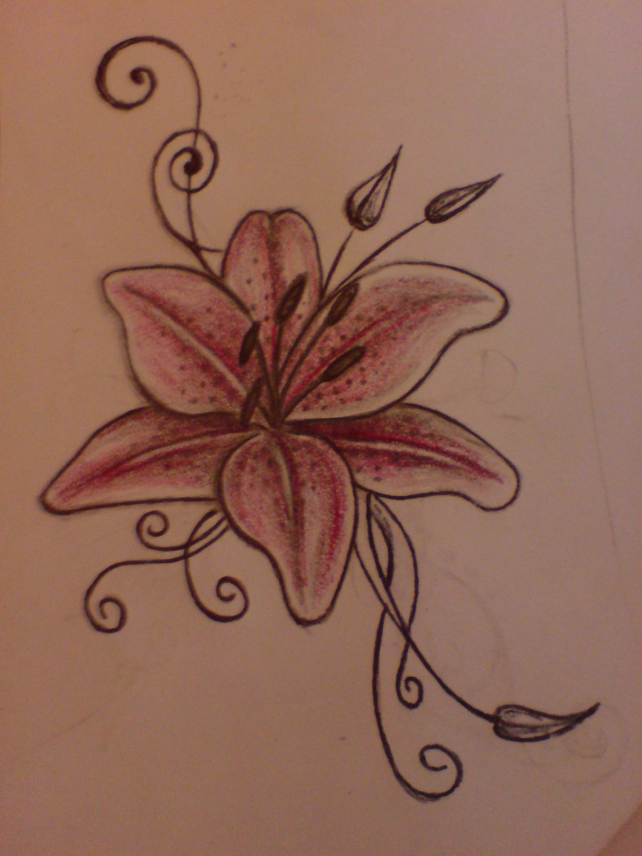 Tribal Lily Tattoo Sketch photo - 3