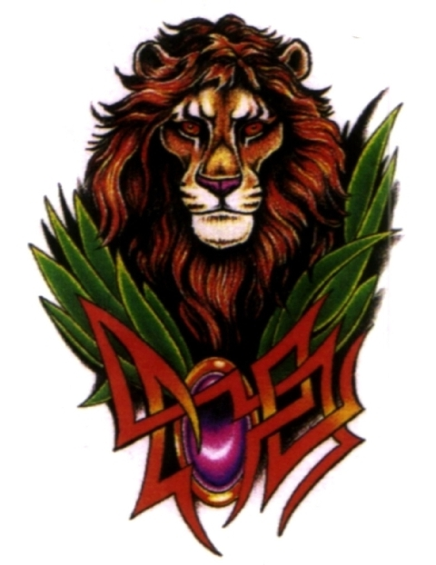 Tribal Lion With Red Eyes Tattoo Design photo - 2