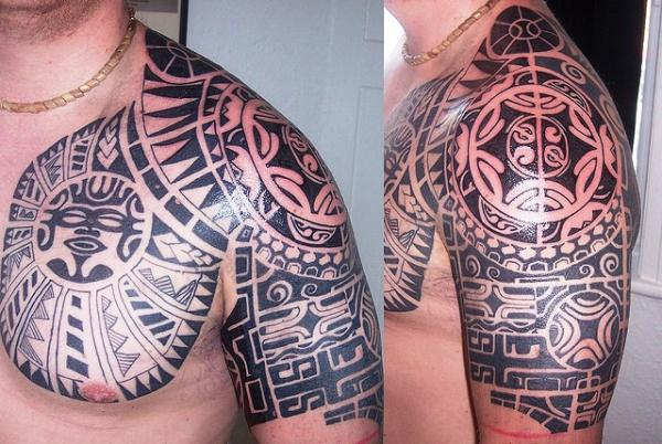 Tribal Mask Tattoo On Face photo - 3