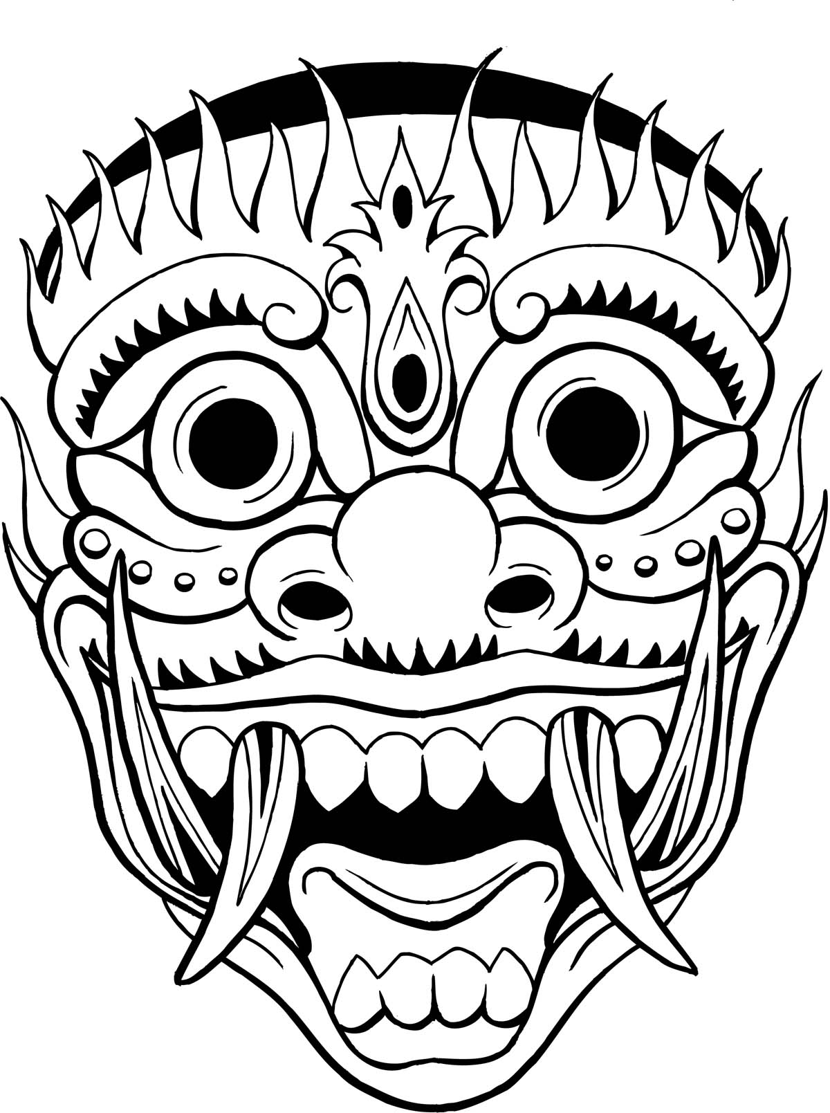 Tribal Mask Tattoo Sketch photo - 1