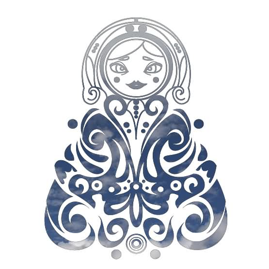 Tribal Matryoshka Tattoo Stencil photo - 1