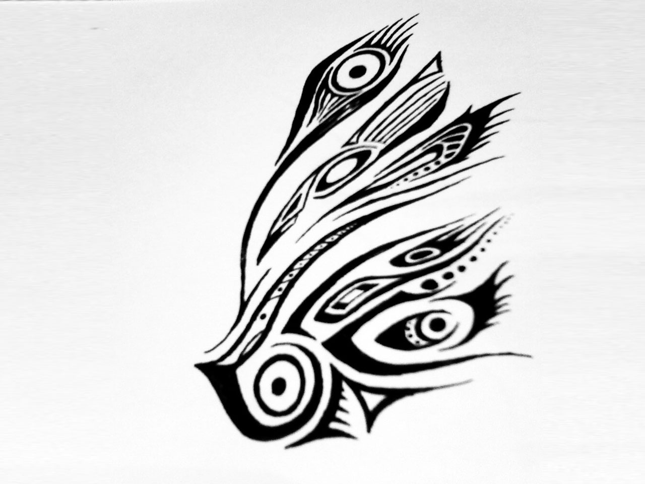 Tribal Peacock Feather Tattoo Design photo - 1