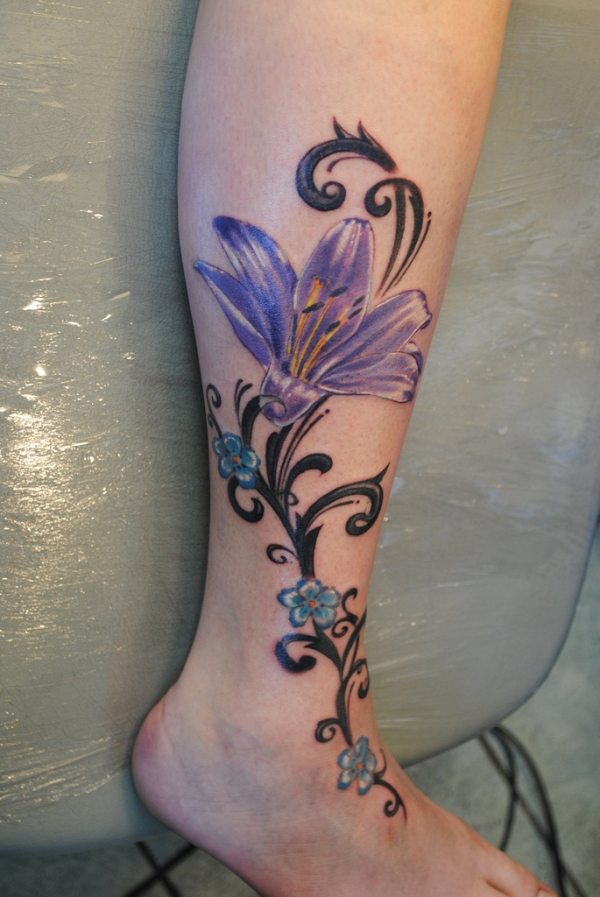 Tribal Purple Lily Tattoo photo - 1