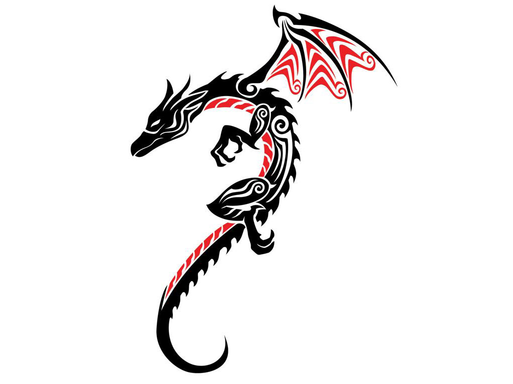 Tribal Red Black Bull Tattoo Design photo - 1