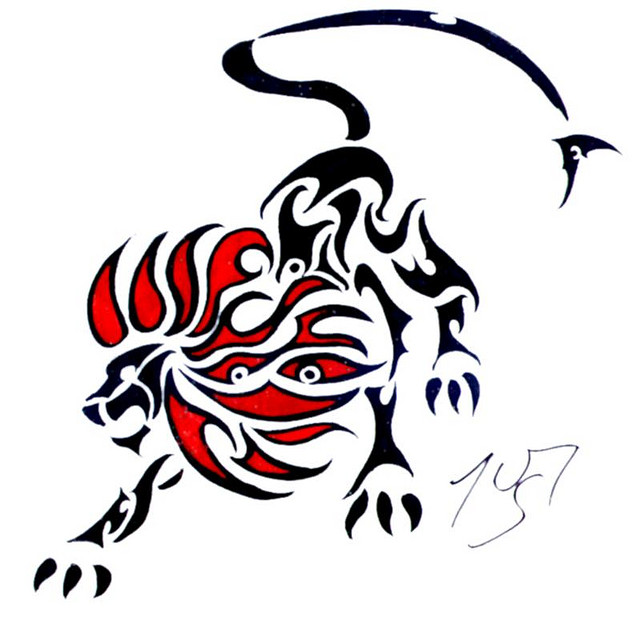 Tribal Red Black Lion Tattoo Sample photo - 2