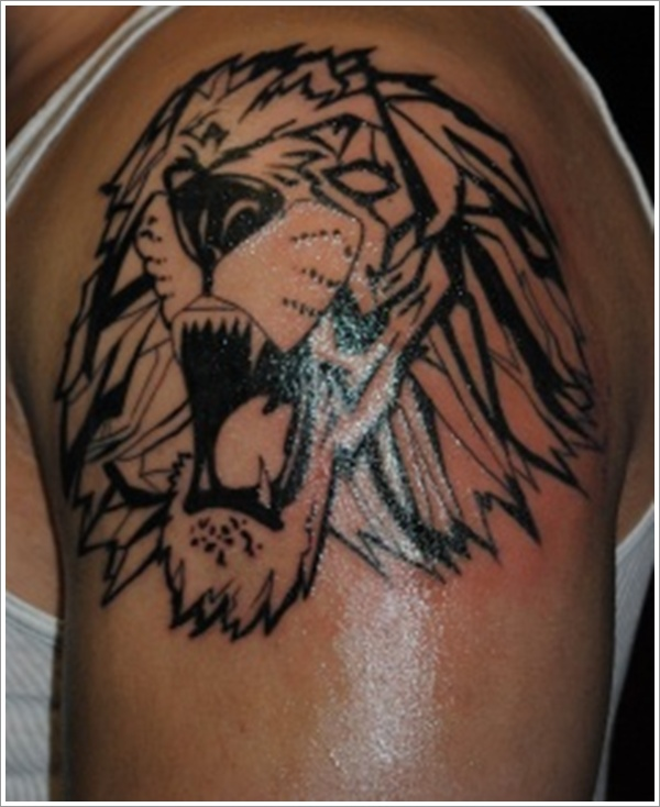 Tribal Roaring Lion Tattoo photo - 3