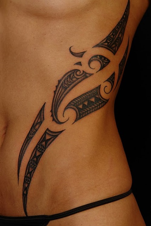 Tribal Shark Dolphin Tattoos On Girls Waist photo - 1