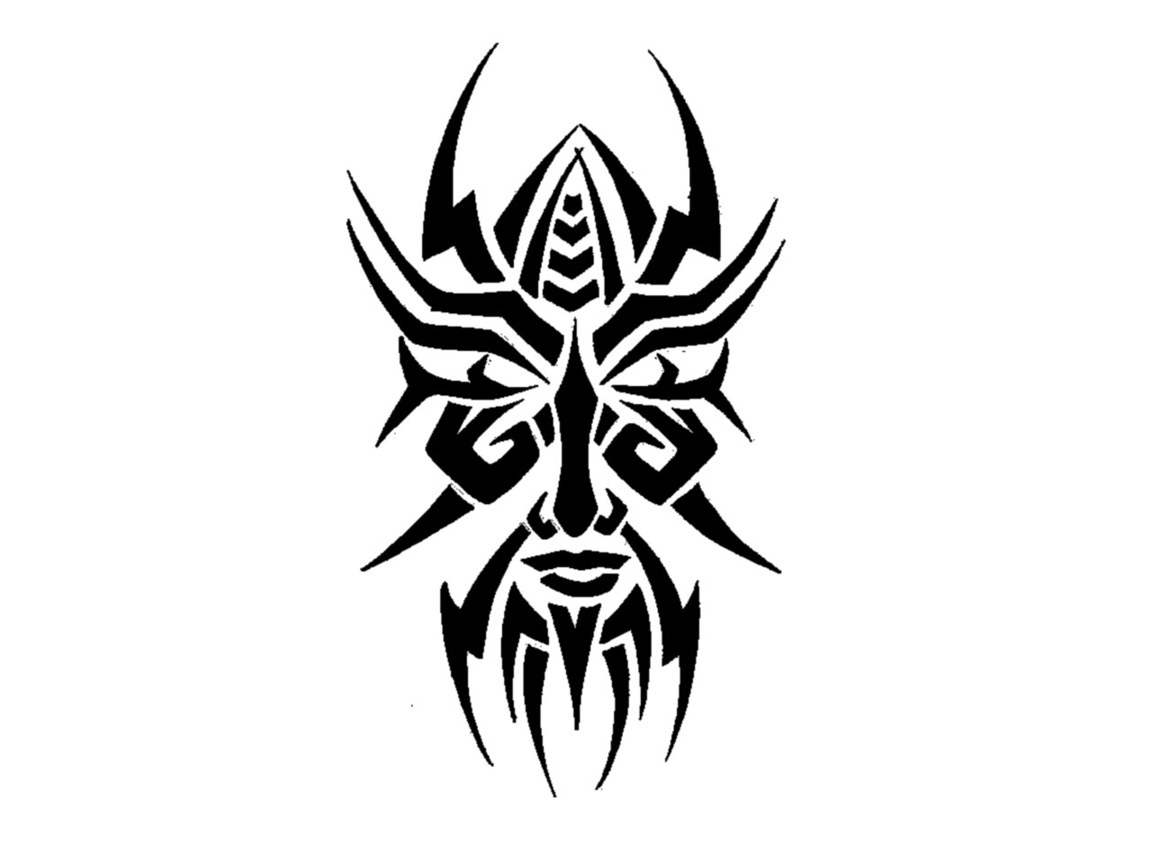 Tribal Sharp Edges Mask Tattoo Design photo - 1