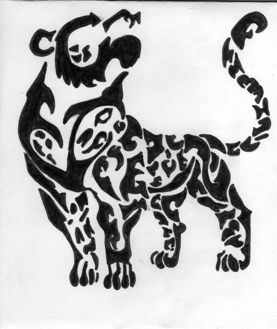 Tribal Snow Leopard Tattoo Design photo - 2