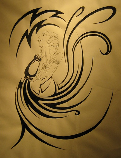 Tribal Water Bearer Aquarius Tattoo Design photo - 2